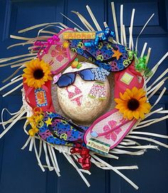 DIY Flip Flop Wreath Decoration. Add a splash of color to your home with a creative flip flop wreath on your door when summer is coming. http://hative.com/diy-flip-flop-wreath-decorating-ideas/