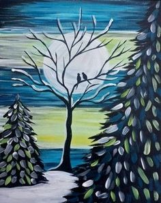 Join us for a Paint Nite event Tue Sep 2016 at The Landing, 830 N St Renton, WA. Purchase your tickets online to reserve a fun night out! Winter Painting, Winter Art, Christmas Paintings, Christmas Art, Wine And Canvas, Paint And Sip, 3d Drawings, Easy Paintings, Simple Art
