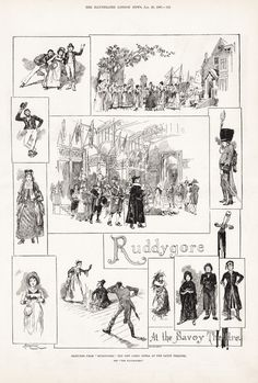 Drawings (1887), by Sir Amédée Forestier (1854-1930) [published in The Illustrated London News], of scenes from Ruddygore (1887), by Sir Arthur Sullivan (1842-1900).