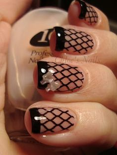 A sweet twist on a French Manicure .... nails ... nail art .... pretty Fishnet Nails, Lace Nails, Corset Nails, Ring Finger Nails, Concealer, Nail Lacquer, Nail Polish, Sexy Nails, Fun Nails