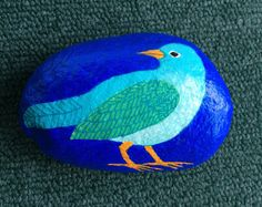 Blue bird painted rock paperweight by AlisonsArt on Etsy