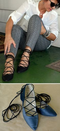 DIY Lace Up Flats Tutorial from Wobisobi.These DIY lace up flats...