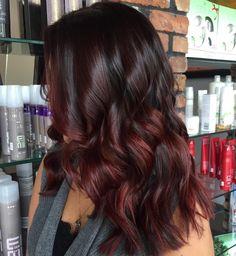 Black Hair With Burgundy And Maroon Balayage