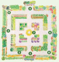 This large formal garden has four sections. Each quadrant contains three L-shaped beds. Paths are 4 ft. wide.