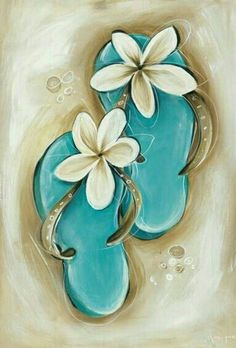 Cutest little flip flops painting with plumeria flowers. Awesome beginner painti… Cutest little flip flops painting with plumeria flowers. Night Painting, Diy Painting, Flip Flop Tattoo, Art Painting, Beach Painting, Painting Canvases, Painting Inspiration, Painting, Art