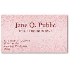Elegant Rose Color Swirls Business Card Templates