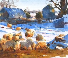 Highway 10 sheep Farm by Andy Evansen 13 x 15 watercolor - BoldBrush Painting Competition Winners