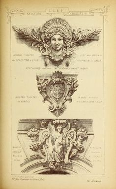 Materials and documents of architecture and sculpture : classified alphabetically Baroque Architecture, Classic Architecture, Architecture Drawings, Architecture Details, Armadura Medieval, Image Digital, Carving Designs, Sculpture, Architectural Elements