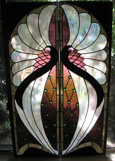 This is a stunning Art Deco Art Nouveau two pane window. Each pane measures This is a stunning Art Deco Art Nouveau two pane window. Each pane measures High by Wide, these measurements are just for the… Continue Reading → Glass Painting Designs, Stained Glass Designs, Stained Glass Projects, Stained Glass Patterns, Stained Glass Art, Stained Glass Windows, Paint Designs, Mosaic Glass, Fused Glass