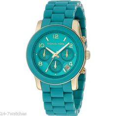 New Michael Kors MK5266 Runway Turquoise Teal Blue Chronograph Ladies Watch