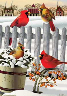 Garden Flags and House Flags for your home decorating fun Christmas Bird, Christmas Scenes, Xmas, Pretty Birds, Beautiful Birds, Images Vintage, Bird Quilt, Cardinal Birds, House Flags