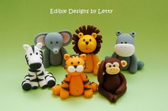 6 Edible Fondant Cupcake Toppers  Jungle by EdibleDesignsByLetty