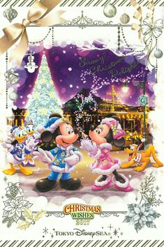Disney Merry Christmas, Mickey Mouse Christmas, Mickey Mouse And Friends, Mickey Minnie Mouse, Disney Mickey, Walt Disney, Christmas Wishes, Minnie Mouse Pictures, Disney Pictures