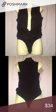 NWT Bebe sleeveless low neck wrap body suit FAIR OFFERS ACCEPTED! I'm trying to save for nursing school  Bebe black solid sleeveless crepe low neck wrap style body suit. Sexy and smart bebe Tops