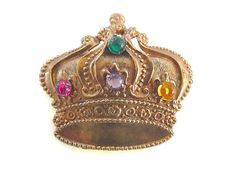 Vintage Crown Brooch Pin Raised Relief Multicolor Cabochons Heraldic Jewelry…