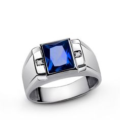 Men's Diamond Ring in 925 Sterling Silver with Blue Sapphire