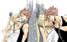 Natsu Dragneel x Lucy Heartfilia - NaLu from Fairy Tail - official art - by Hiro Mashima
