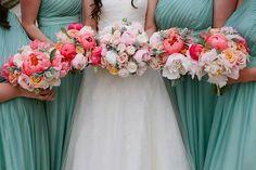 Seafoam green wedding, coral wedding, pastel colour wedding, Kate Sherford wedding dress, Photography by Tarah Coonan