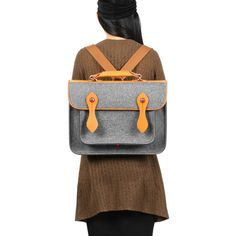 Briefcase Wool Felt  Macbook Bag Sleeve with Genuine Leather Handle And Strap Briefcase Felt Sleeve Office Bag