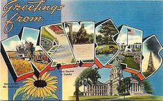 Kansas KS 1940s Large Letter Greetings from Kansas KS Vintage Linen Postcard