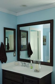 A MirrorMate Frame Was Added To BOTH The Existing Wall Mirror AND The Medicine  Cabinet On The Side Wall For Double The Fun With This Mirror Makeoveu2026