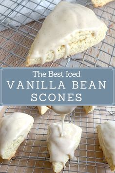 This Vanilla Bean Scone recipe recipe is so easy and delicious, you'll never buy one from Starbucks again! They're soft, tender, and melt in your mouth delicious. And they're full sized, for the perfect breakfast treat! #vanillabeanscones #scones #fromscratch #homemadescones #homemade #mainefood Vanilla Scones Recipes, Vanilla Bean Scones, Scone Recipes, Recipe For Scones, Perfect Scones Recipe, Vanilla Desserts, Breakfast Recipes, Dessert Recipes, Breakfast Scones