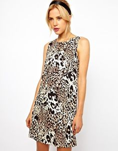 Image 1 ofASOS Simple Shift Dress in Animal Print