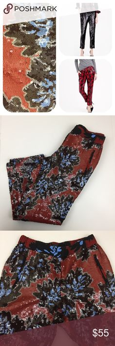 J.Crew/JCrew Sequin Pants 6 😱Gorgeous pants by J.Crew. Black, blue and brick red flower print covered in sequins. Side slant pockets, elastic waist, pull on style, ankle length. Some missing sequins but nothing too noticeable. $200 retail. The stock photos are to show fit/style, not print. Please see additional photos for actual Pants and print. J. Crew Pants Ankle & Cropped