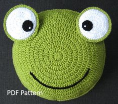 Frog Pillow - Cushion CROCHET PATTERN - crochet patterns for animal pillows - Kids Birthday present - Baby shower nursery gift