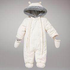 Buy John Lewis Baby Wadded Snowsuit, Off White Online at johnlewis.com