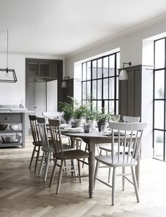 Take a look at some of today's most popular design of kitchen flooring ideas. Kitchen flooring ideas decide how a kitchen will look great. Instead of decorating a kitchen, flooring also gives a step for you. Painted Dining Chairs, Oak Dining Chairs, Dining Room Furniture, Dining Room Table, Dining Area, Cafe Chairs, 12 Seater Dining Table, Oak Table, Room Chairs