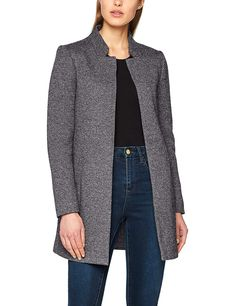 OTW Womens Open Front Mid Length 3//4 Sleeve Stylish Pea Coat Trench Jacket Outerwear