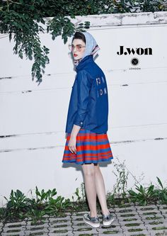 J.WON London SS16 'BonBon' Shirts Stripe-knitted flared skirt