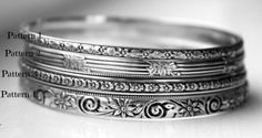 Solid Sterling Silver Bangle Bracelet  Patterned by galwaydesigns