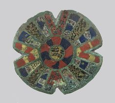 Disk Brooch, Date: second half 2nd century Culture: Roman Medium: Champlevé enamel, copper alloy Dimensions: Overall: 1 11/16 x 7/16 in. (4.3 x 1.1 cm) Classification: Enamels-Champlevé