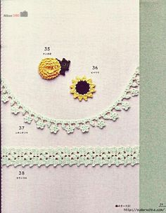 Crochet edgings, flowers, doilies, applique ... #Japanese #crochet #book