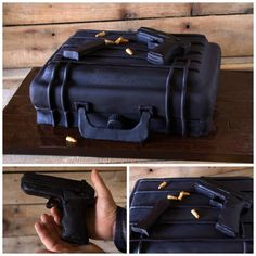 Gun Case Cake with Edible Glock 9mm Gun, Clip & Bullets - Cake by Rose Atwater