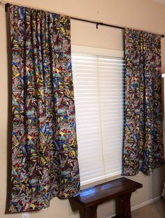 Marvel retro comic book curtains to put over his closet opening!?! Something along these lines any way.... or zombies....?!?