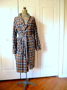 Vintage soft cotton Flannel plaid Robe by houuseofwren on Etsy