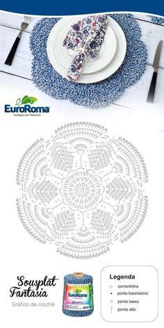 Ideas for crochet patrones ganchillo carpetas Crochet Doily Diagram, Crochet Mandala Pattern, Crochet Chart, Crochet Stitches, Crochet Patterns, Crochet Dollies, Crochet Flowers, Crochet Placemats, Crochet Home