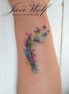Feather with birds watercolor tattoo on inner arm @Lorleanne Sark Sark Sark Sark~ if I could some how incorporate a cross and my kids names.