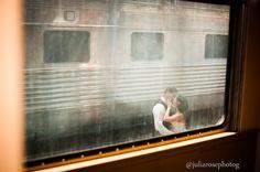 Railroad kiss. Vintage themed railroad photoshoot. Gold Coast railroad museum. Miami fl