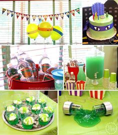 Teenage Mutant Ninja Turtle (#TMNT) Birthday Party - TMNT balloons and cake, toxic lemonade and Jello, toxic ooze