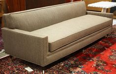 Mid-century sofa, covered in period fabric and rising on turned and tapered legs, x x on Mar 2011 Sofa Makeover, Mid Century Sofa, Lounge, Couch, Interior, Furniture, Home Decor, Airport Lounge, Drawing Rooms
