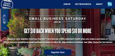 amex shop small saturday 2 AMEX SMALL BUSINESS SATURDAY $10 CREDIT   REGISTER TODAY! Amex Shop Small, Small Business Saturday, Free Cash