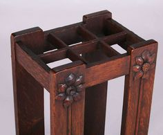 2029. Grand Rapids carved oak umbrella stand. Unsigned. Excellent original finish. Missing drip pan. 28″h x 14″w x 10.5″dSOLD