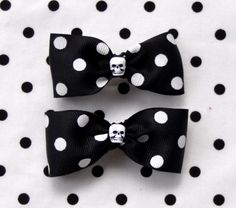 Black and White Polka Dots and Skulls Ribbon Barrettes $6.99 from Sabbie's Purses and More
