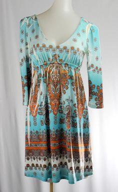 OPHELIA S Indian Blue Brown White Tribal 3/4 Sleeve Stretch Dress Empire Waist  #Ophelia #EmpireWaist #Casual