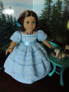 1850's Blue Dress for American Girl Marie-Grace or Cecile