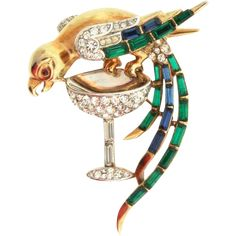 A Rare Vintage Trifari 'Alfred Philippe' Bird Parrot On A Champagne Glass Rhinestone Figural Brooch Pin